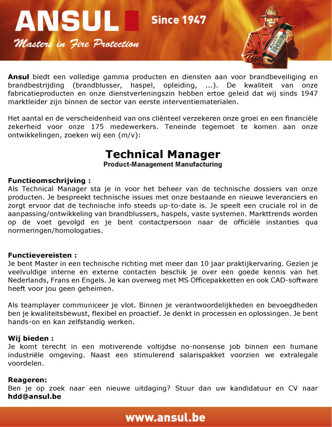 Vacature Ansul technical manager